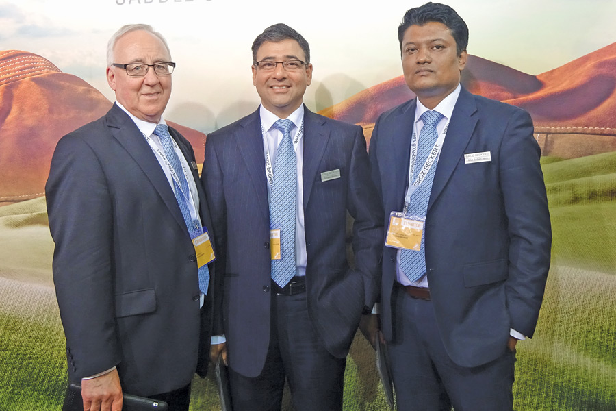 (L-R) Klaus Hacker, Vice President Sales – Knitting Machine Parts, Groz-Beckert; Sanjeev Sharma, Sales Director (Bangladesh), Groz-Beckert; and Rifat Raihan Asim, Sales Manager (Bangladesh), Groz-Beckert