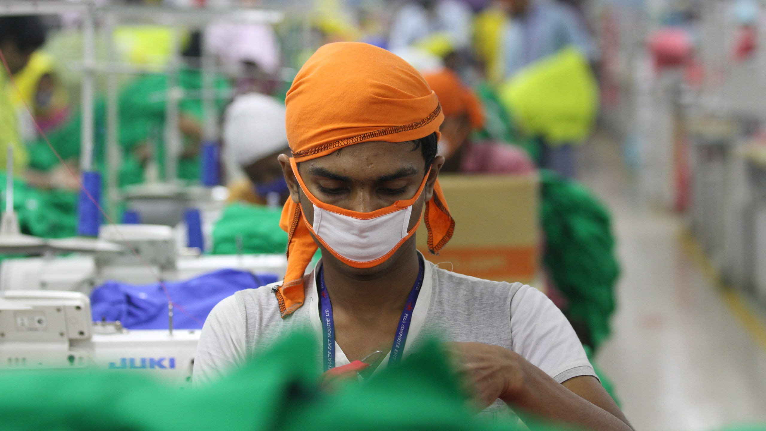 A worker in a green garment factory in Bangladesh.