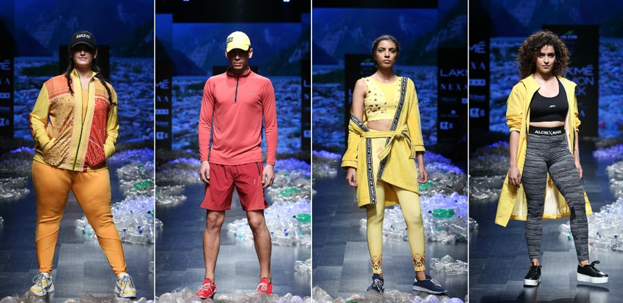 Models walking for Alcis X Nari powered by RElan_ at Lakme Fashion Week SR 2019